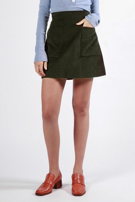 battery skirt dark green