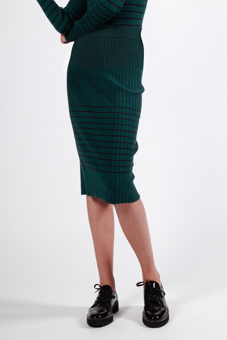 blundstone skirt green & navy stripe