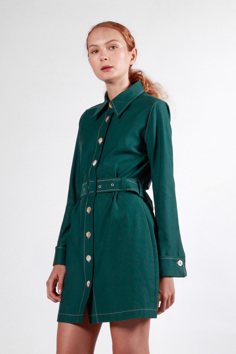 bowden dress forest green