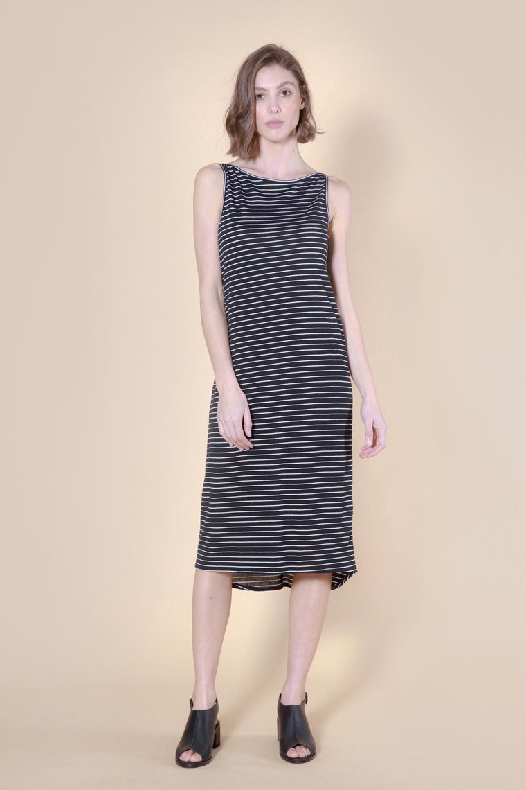 cove dress white/black stripe