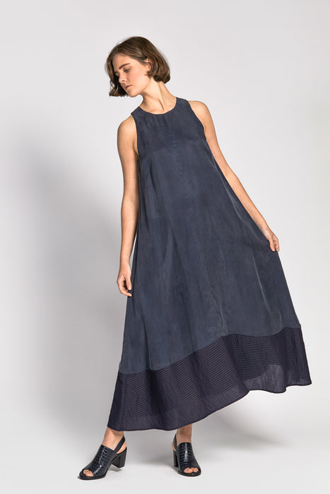 dinesha dress navy/navy stripe