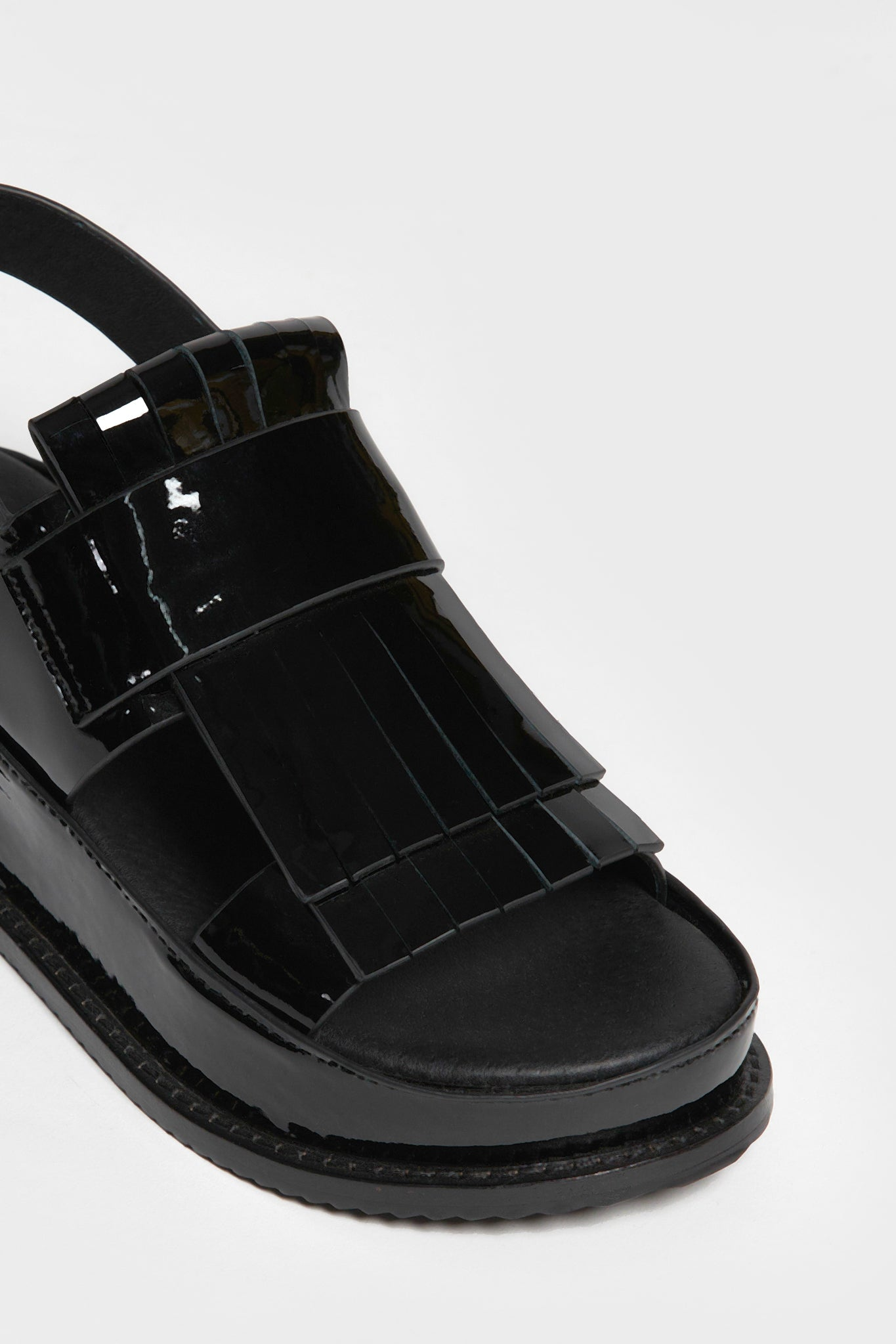 ha sandal black patent