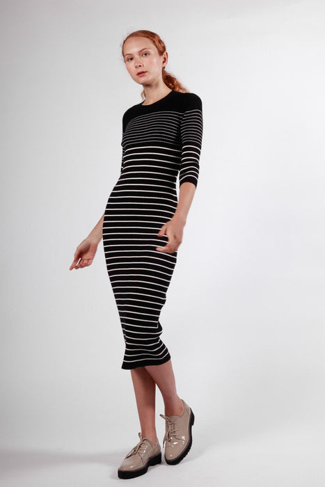 jourdain dress black & white stripe