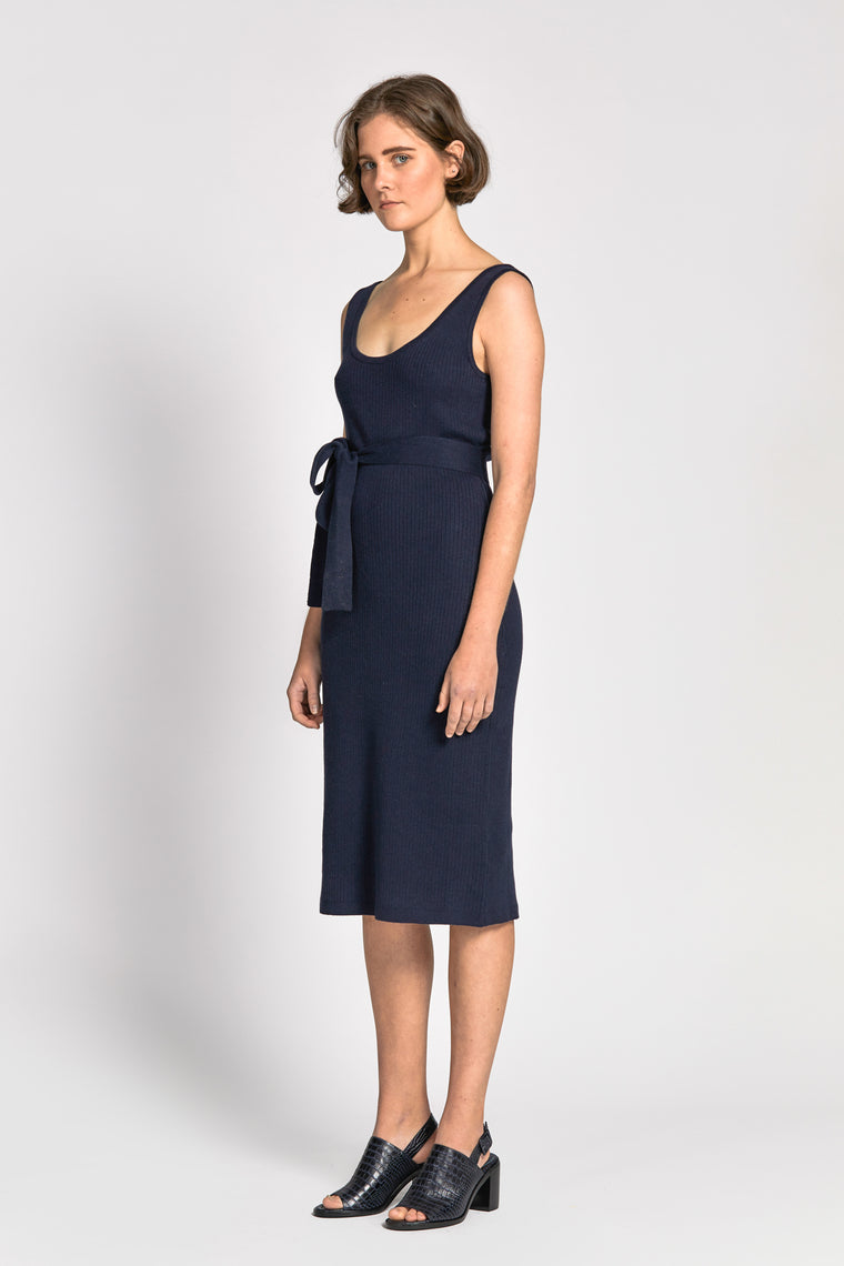lanh dress navy