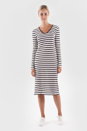 mai dress black/white stripe