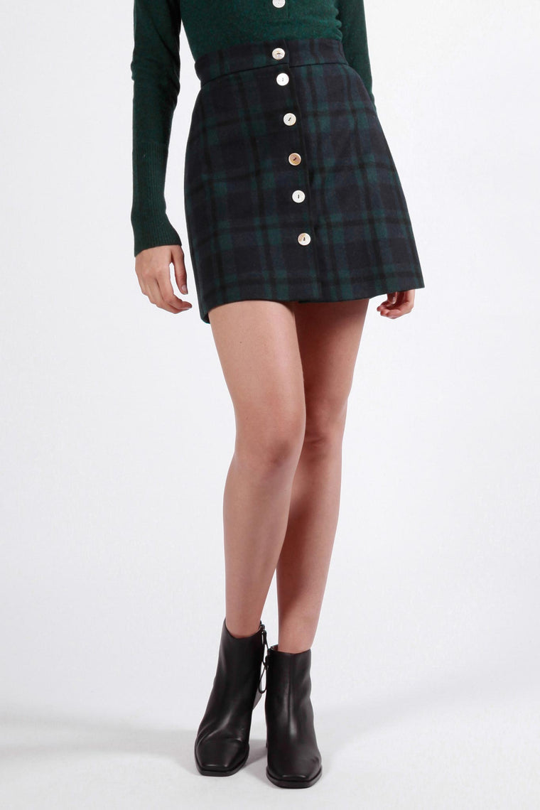 mures skirt navy green plaid