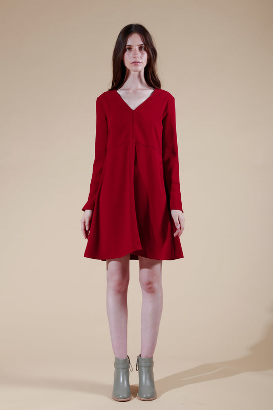 piaf dress deep red