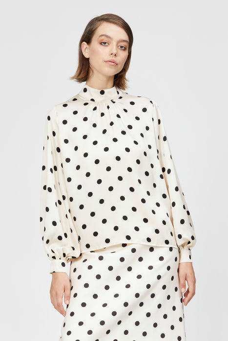 pocol shirt cream/black spot