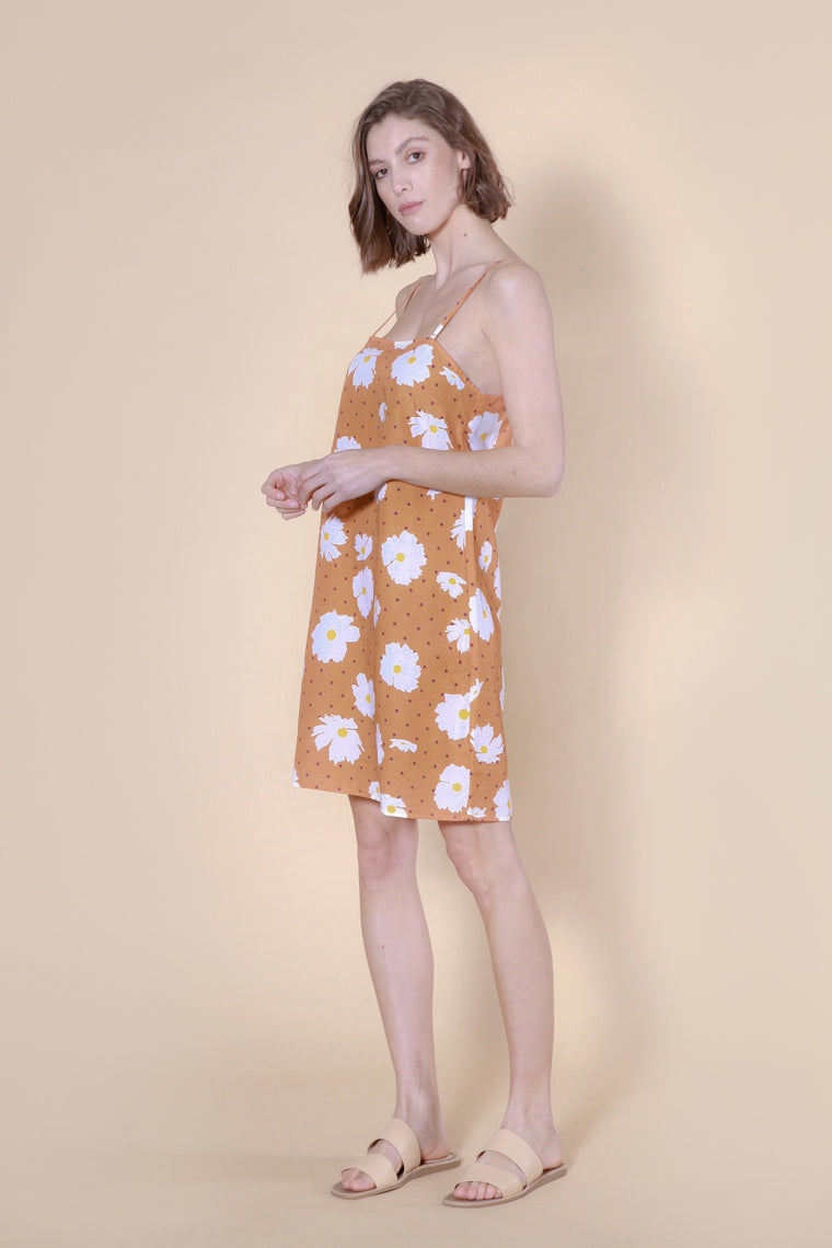 ruapuke dress tan floral print