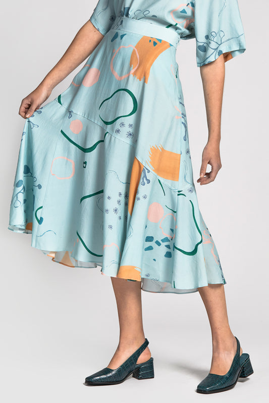 suong skirt watercolour print