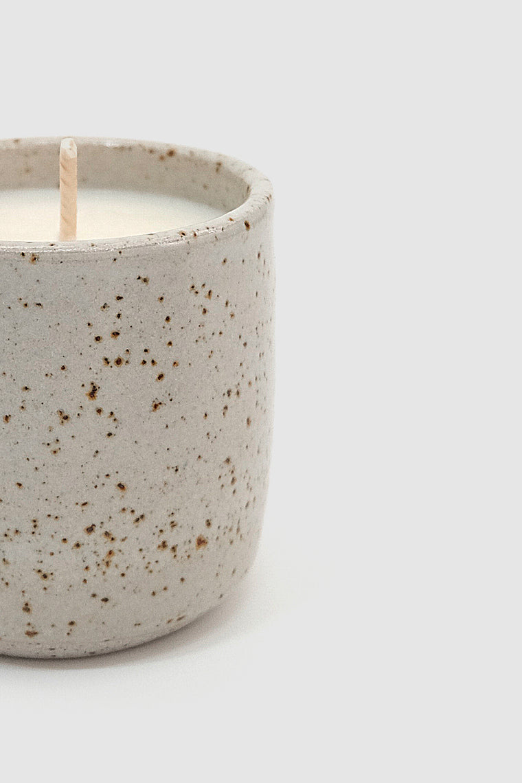 light grey speckle candle