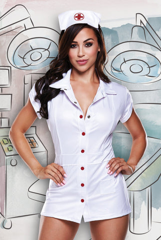 Baci Dreams Sexy Nurse Vinyl Dress & Headwear Set