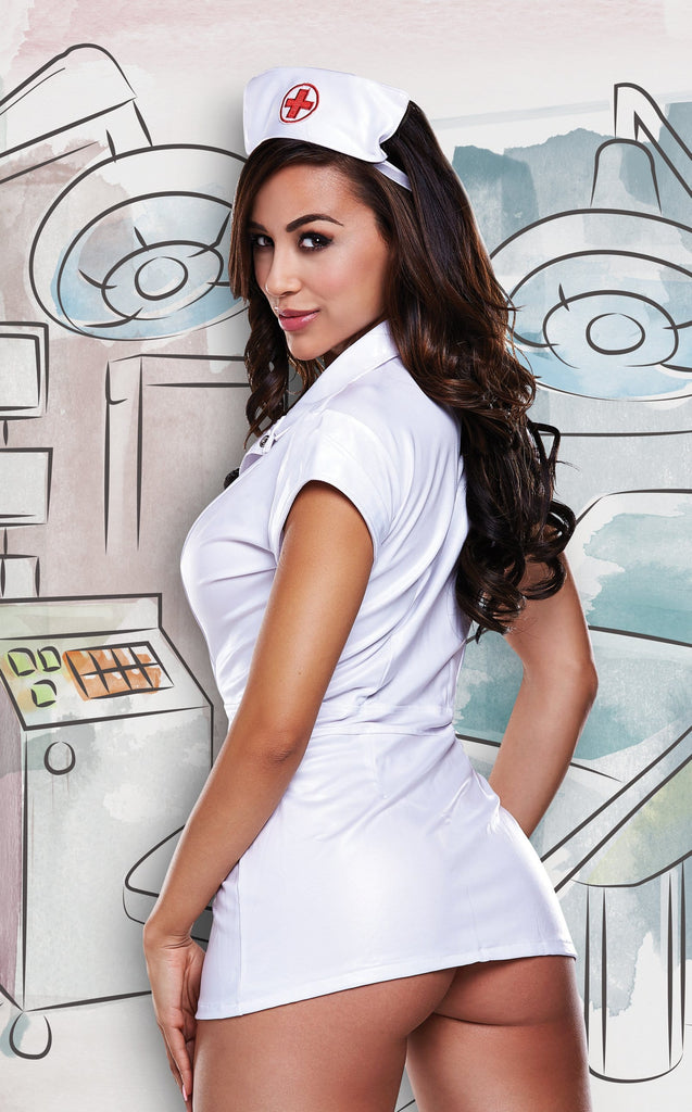 Baci Dreams Sexy Nurse Vinyl Dress & Headwear Set main image 2