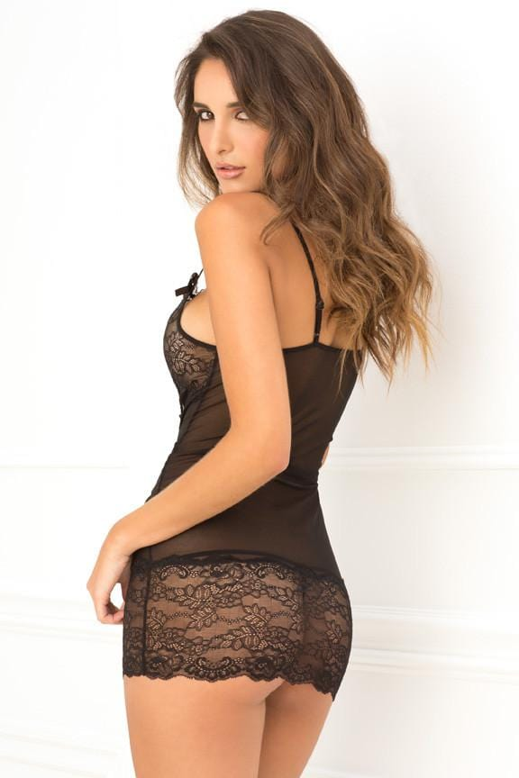 Rene Rofe Lace Up Front Chemise Black main image 2