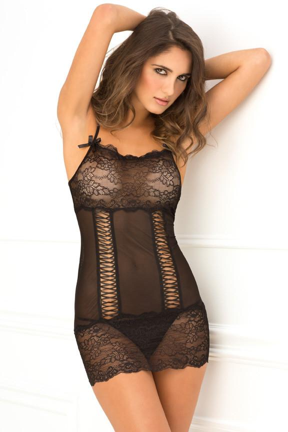 Rene Rofe Lace Up Front Chemise Black