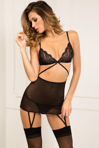 BLACK LACE TOP GARTER CHEMISE & G STRING SET BLACK