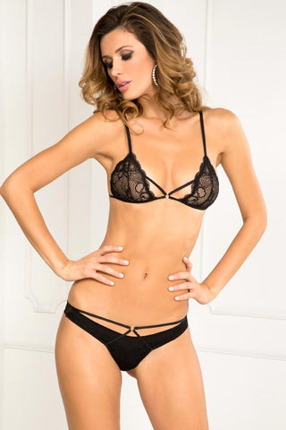 PROVOCATIVE LACE BRA & PANTY SET BLACK