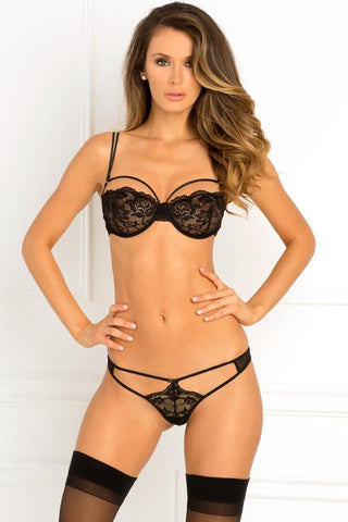 ROUGH ROMANCE BRA & G-STRING SET BLACK
