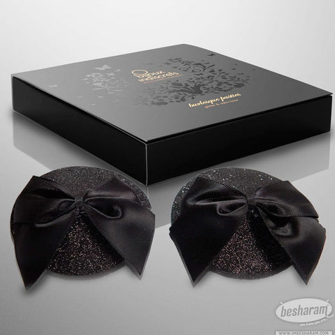 Bijoux Indiscrets Black Glitter and Bow Burlesque Pasties