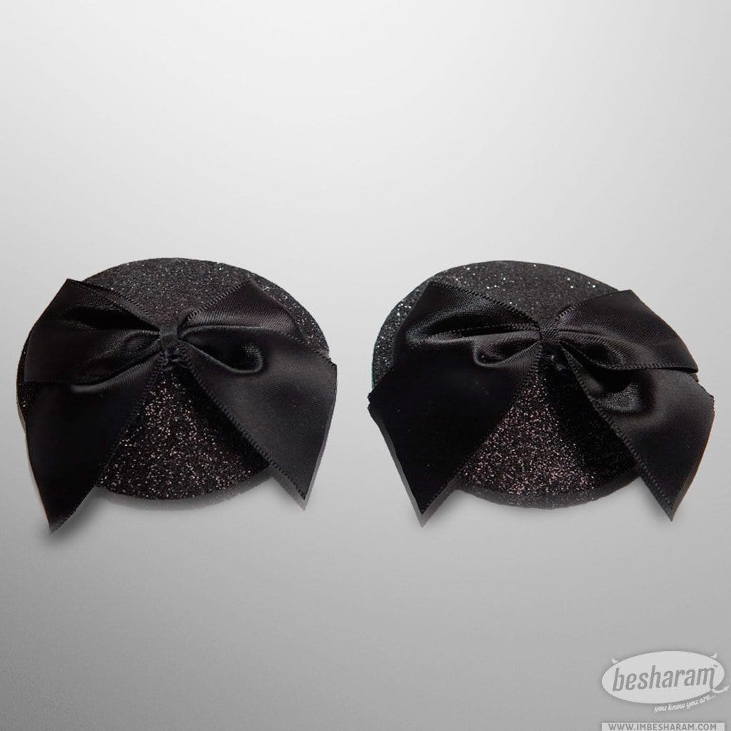 Bijoux Indiscrets Black Glitter and Bow Burlesque Pasties main image 2