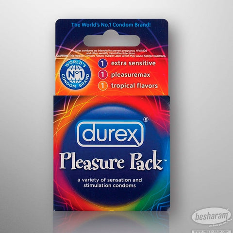Durex Condoms Pleasure Pack - 3 Count Box