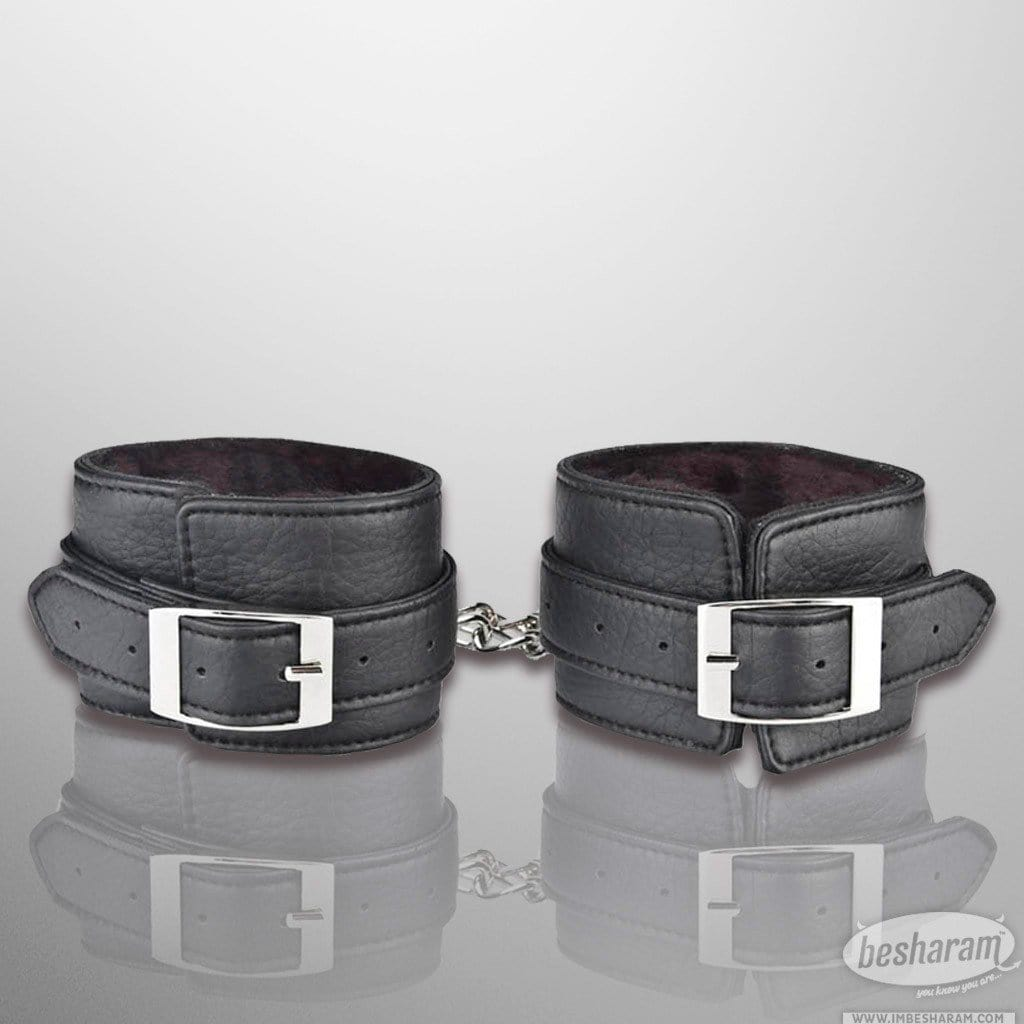 Lux Fetish Faux Fur Unisex Leatherette Ankle Cuffs main image 2