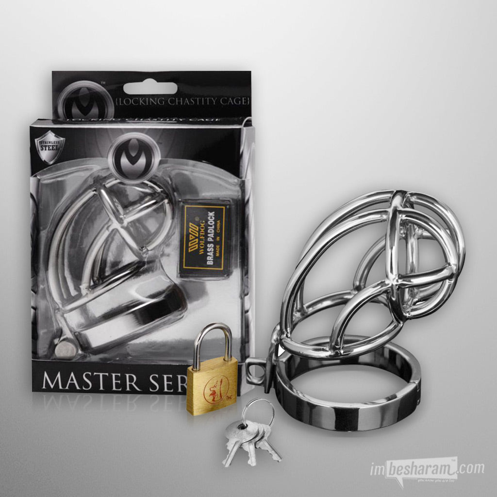 Master Series Stainless Steel Locking Chastity Cage