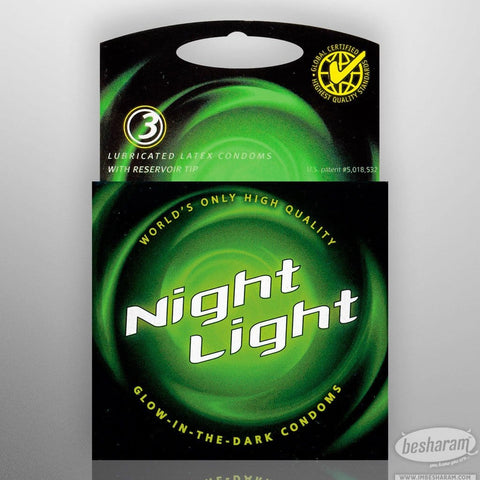 Night Light Glow In The Dark Condoms - 3 Count Box
