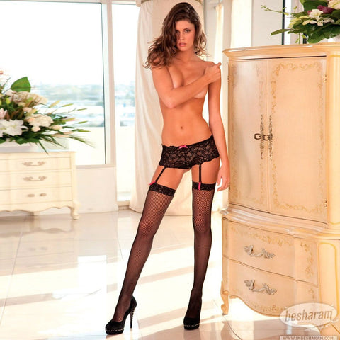 Rene Rofe Black Crotchless Lace Boyleg w/Removable Garters