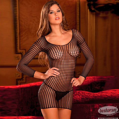Rene Rofe Crochet Net Long Sleeve Dress