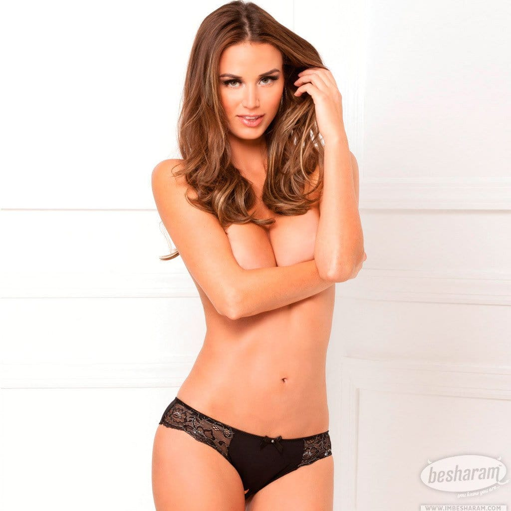 Rene Rofe Crotchless Lace Panty w/Bow Detail