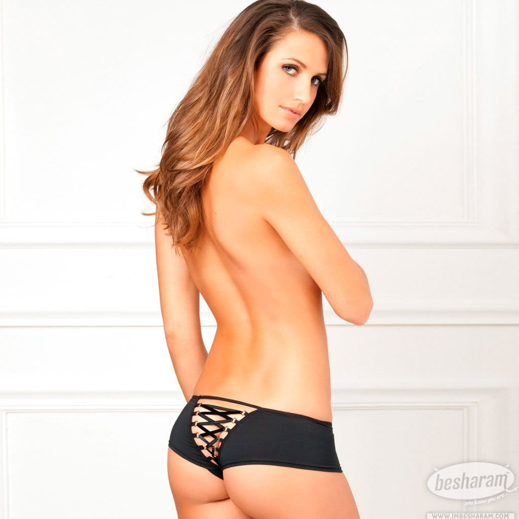 Rene Rofe Crotchless Lace Up Back Panty main image 2
