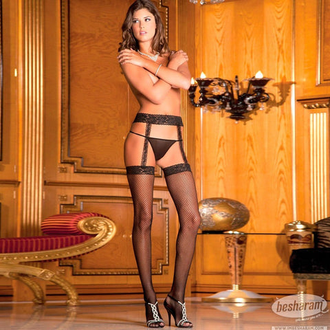 Rene Rofe Fishnet Thihg High w/Lace Garters