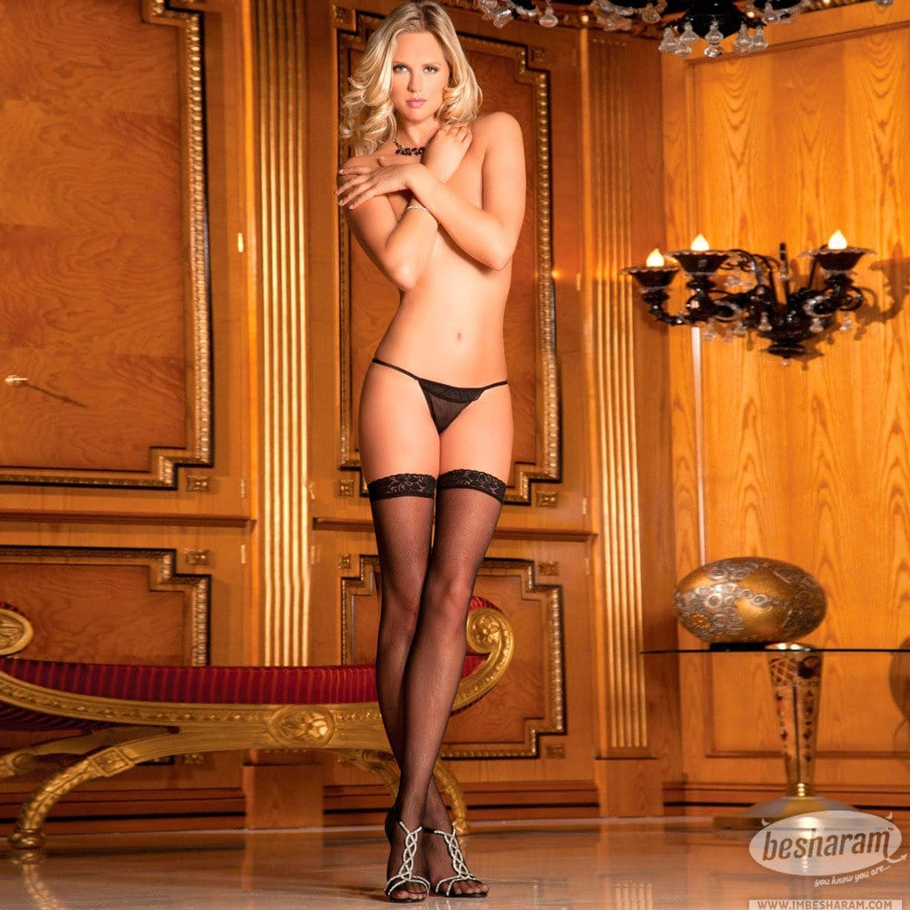 Rene Rofe Lace Top Sheer Thigh High