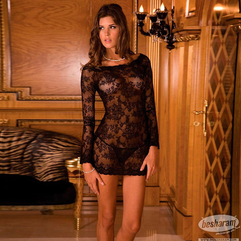 Rene Rofe Long Sleeve Chemise Dress Set