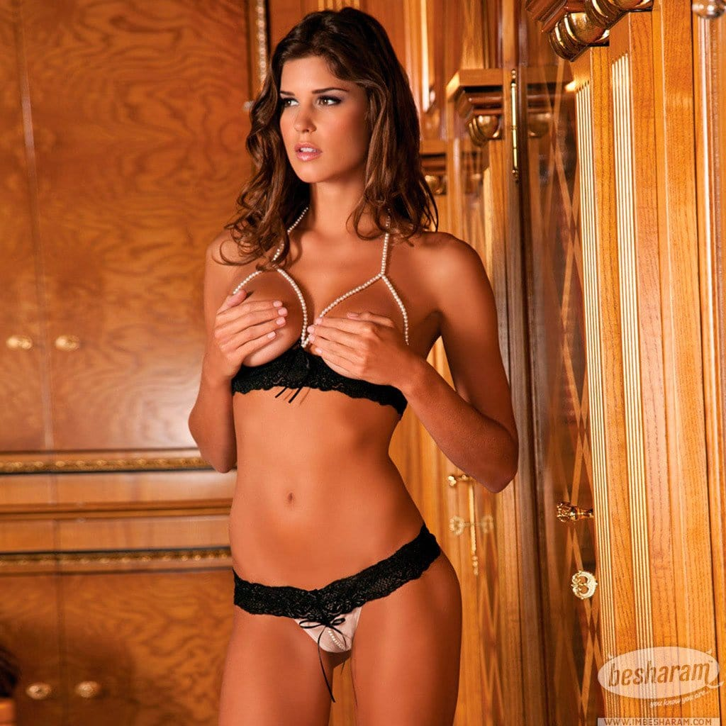 Rene Rofe Pearl Necklace Bra & G-String Set