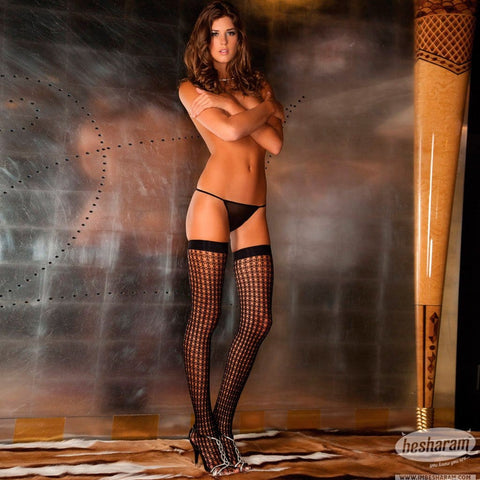 Rene Rofe Quarter Crochet Net Thigh Highs