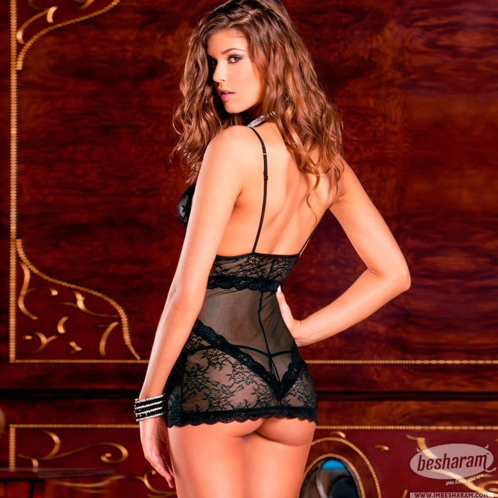 Rene Rofe Sophisticated Lace Chemise & G-String Set main image 2