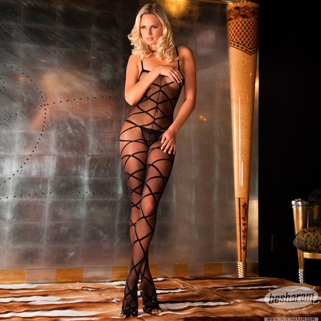 Rene Rofe Strapped Up Sheer Bodystocking