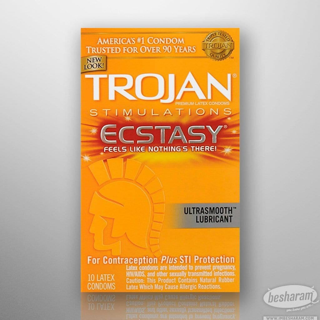 Trojan Stimulations Ecstasy Ribbed Condoms