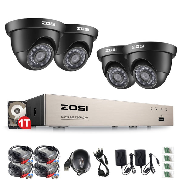 ZOSI 8CH CCTV System 1080N HDMI 4IN1 DVR 4PCS 720P IR Outdoor Camera Home TVI Security System Surveillance Kits 1TB HDD