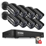 ZOSI HD 8CH CCTV System 8 Channel 1080N DVR 8PCS 1.0MP Bullet Outdoor Home Video Camera System Surveillance Kits 1TB Hard Disk
