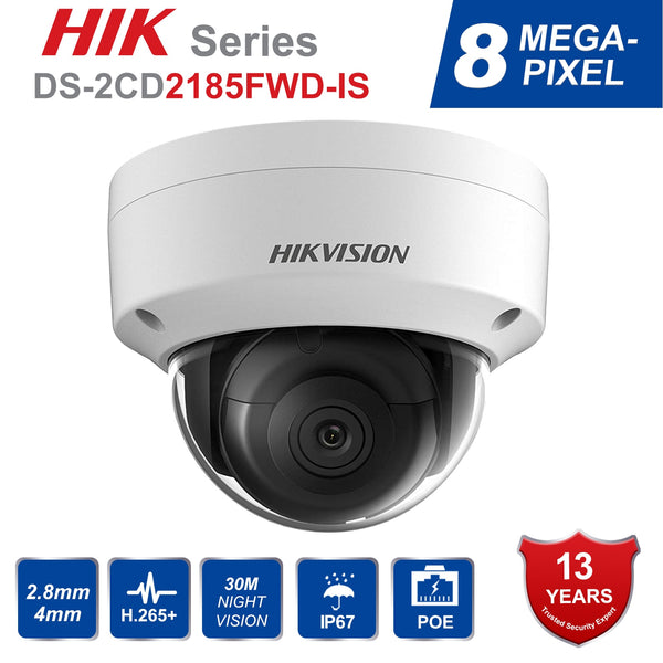 Hik DS-2CD2185FWD-IS 8MP Outdoor Dome ip Camera H.265 Updatable CCTV Camera With Audio and Alarm Interface security kamera