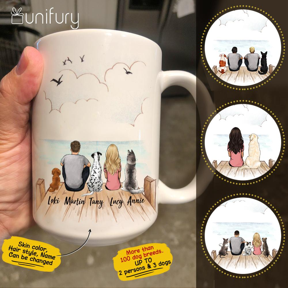 Personalized dog & couple coffee mug gift for dog mom dad lover owner - Wooden Dock - 2269