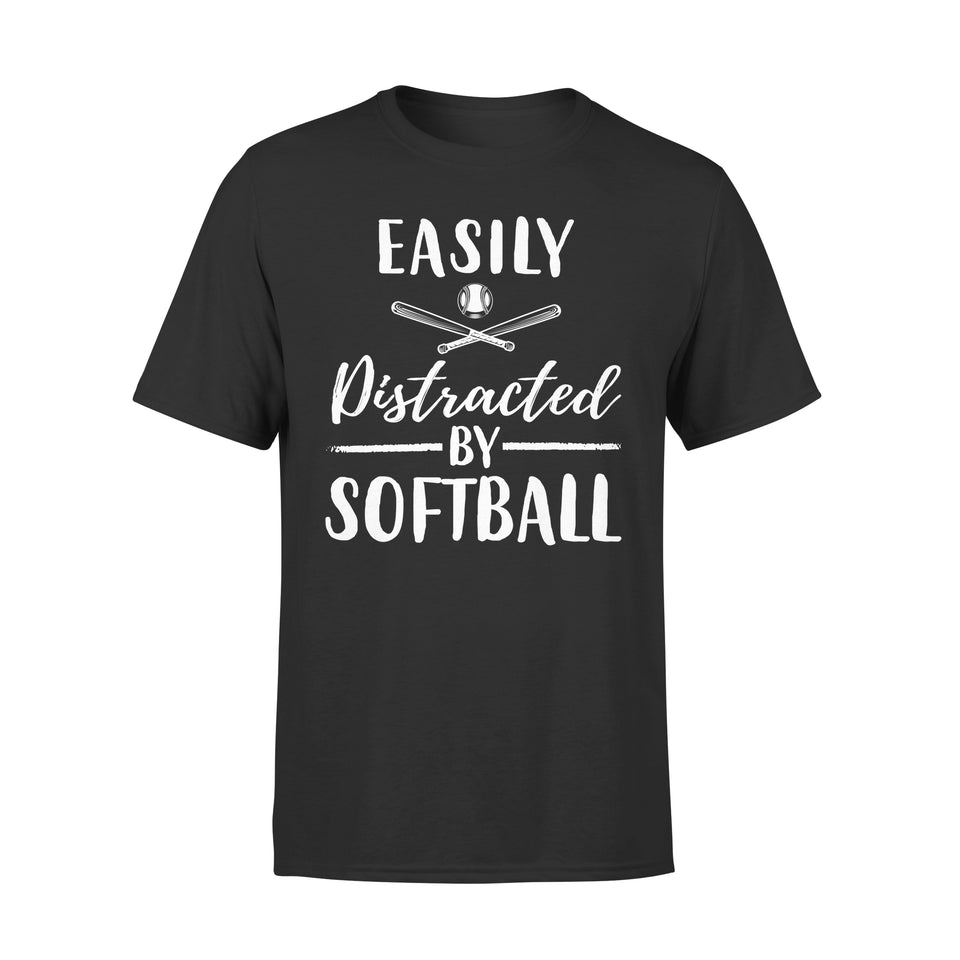 Easily Distracted By Softball - Premium Tee