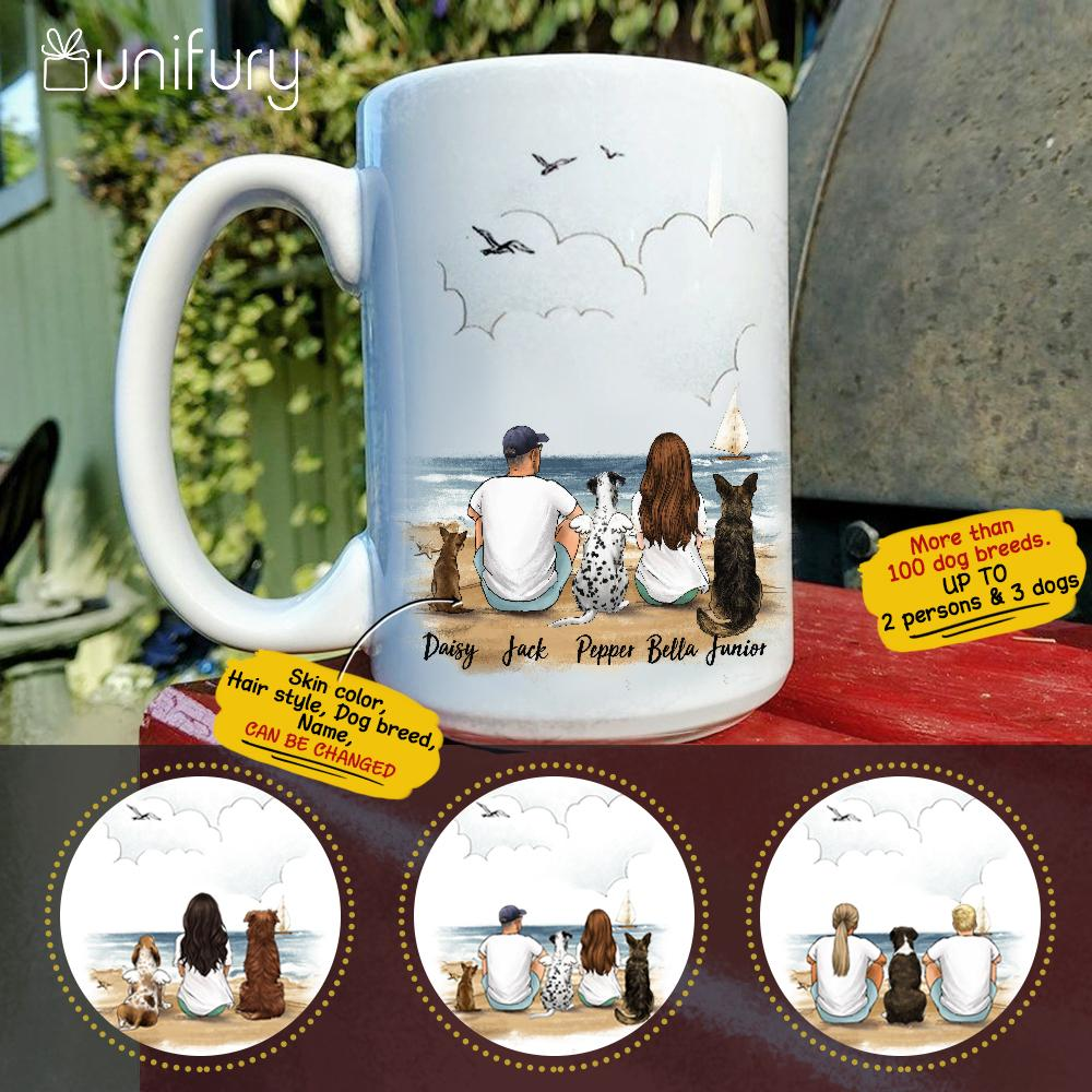 Personalized dog & couple coffee mug gift for dog mom dad lover owner - Beach - 2363