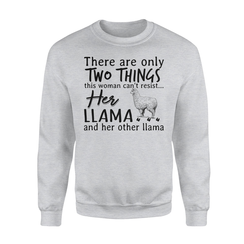 Two Things This Woman Can't Resist Her Llama And Her Other Llama - Premium Fleece Sweatshirt