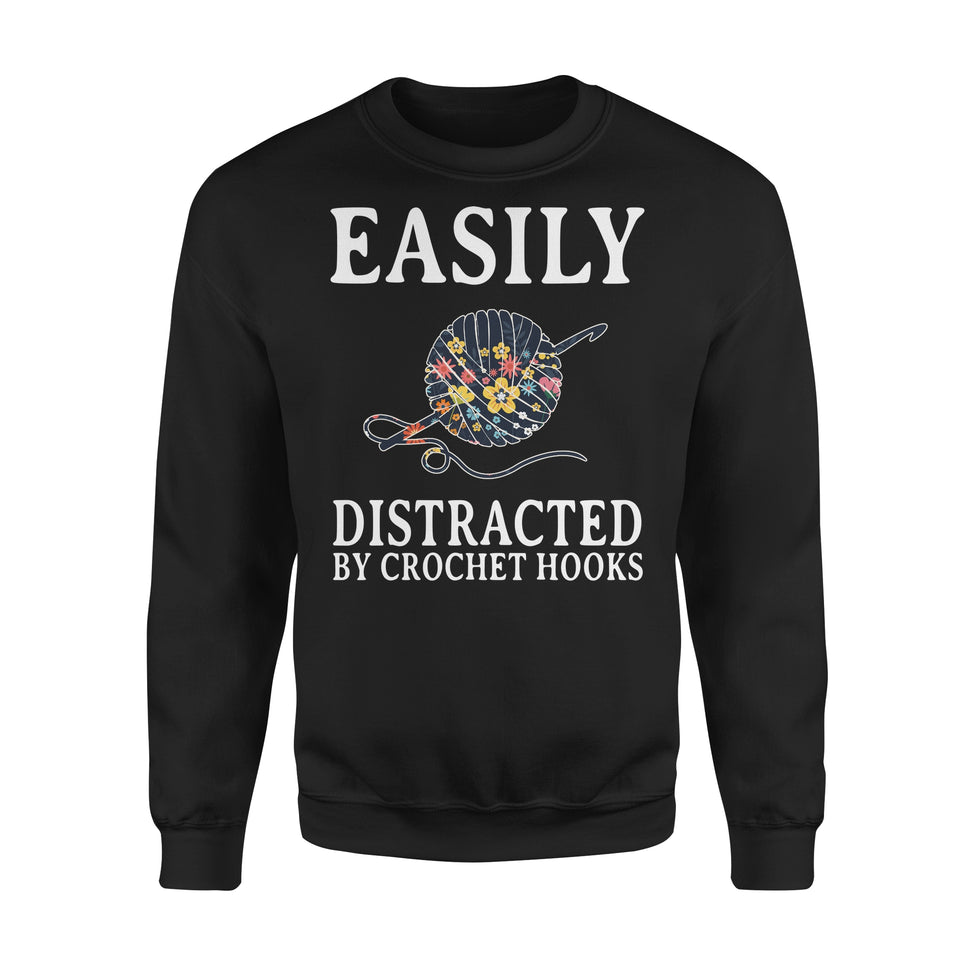 Easily Distracted By Crochet Hooks - Premium Fleece Sweatshirt