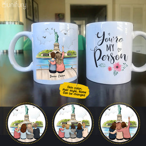 Personalized custom female best friend bestie sister birthday gift ideas coffee mug - Statue of Liberty - 2428