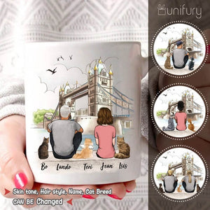Personalized cat & couple coffee mug gift for cat mom dad lover owner - London - 2423
